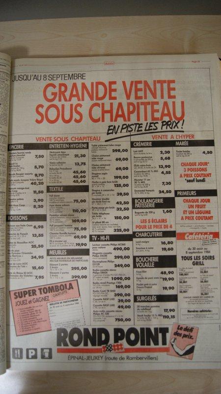 Publicité en Septembre 1984 du Rond Point de Jeuxey.