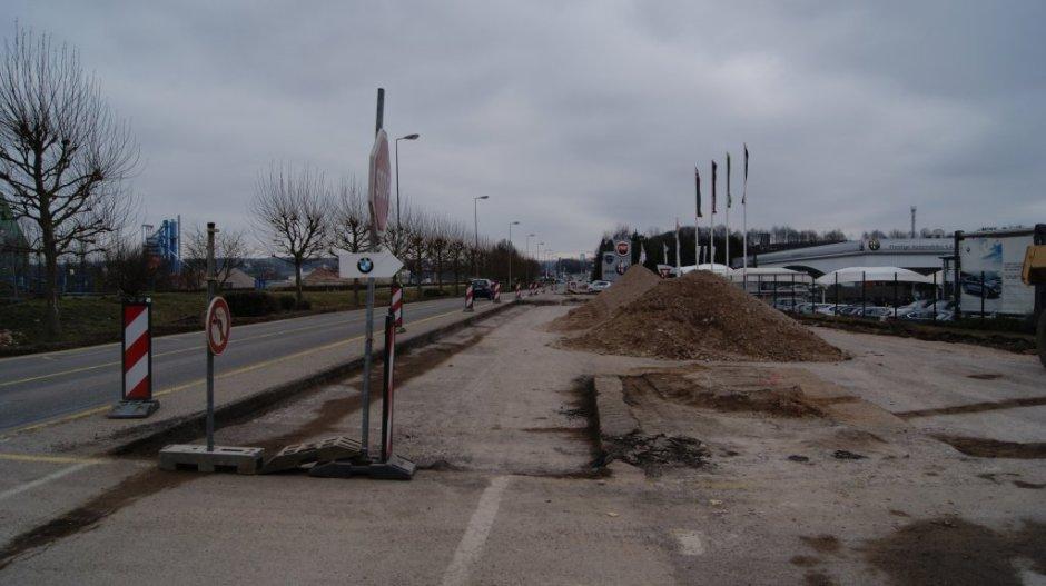 Construction d'un giratoire au Pré Droué à Chavelot.