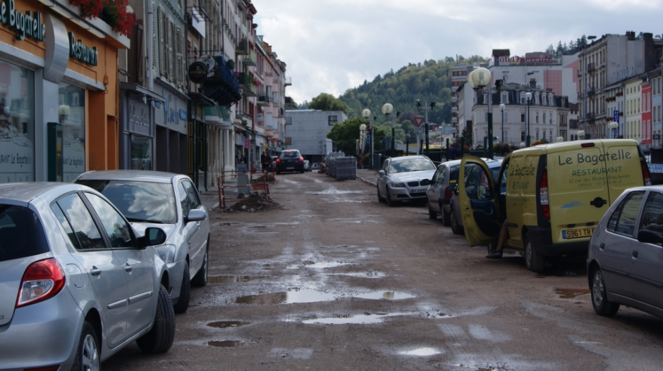 Travaux en cours rue des Petites Boucheries à Epinal.