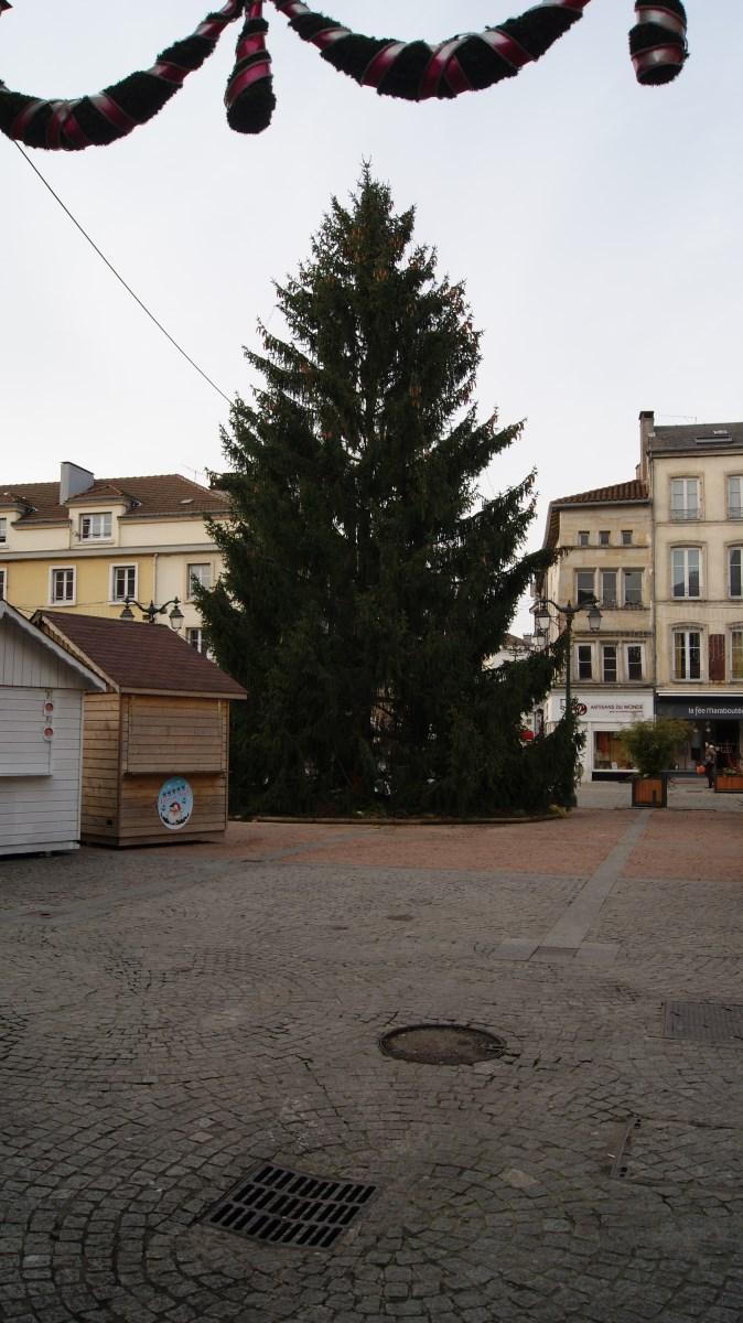 Arrivée du sapin de Noël sur la Place des Vosges.