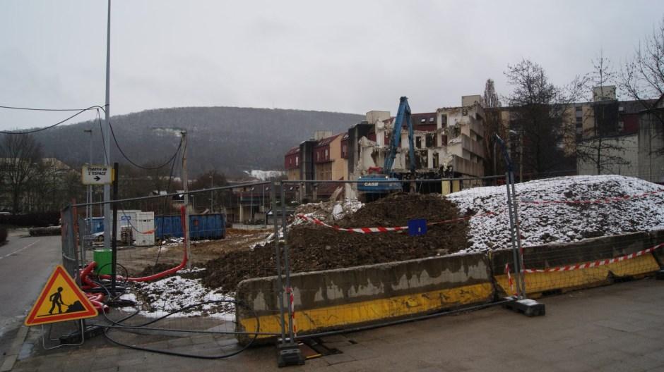 Démolition à Besançon.