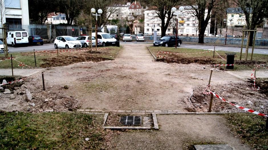 Aménagements paysagers dans le parc de la Chipotte.