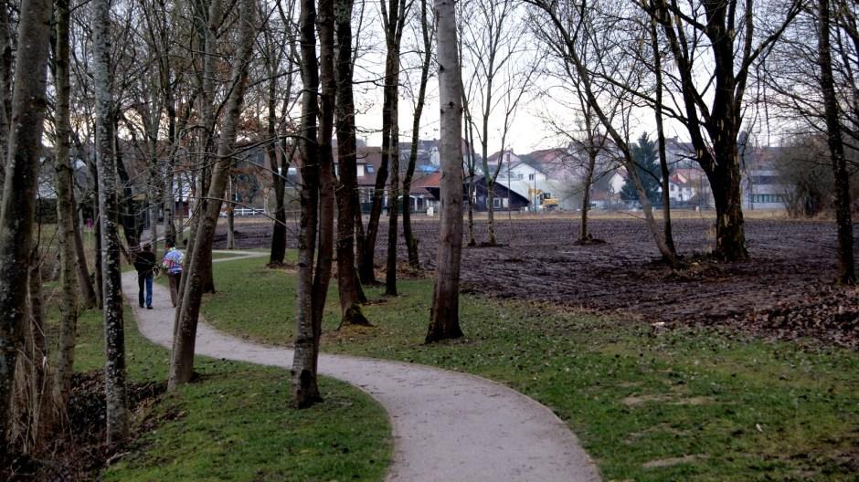Aire de jeux et étang des Acacias à Golbey.
