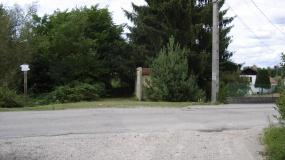 Après une centaine de mètres dans la forêt, la ligne arrivait à un passage à niveau, aujourd'hui méconnaissable. La photo est un peu floue...