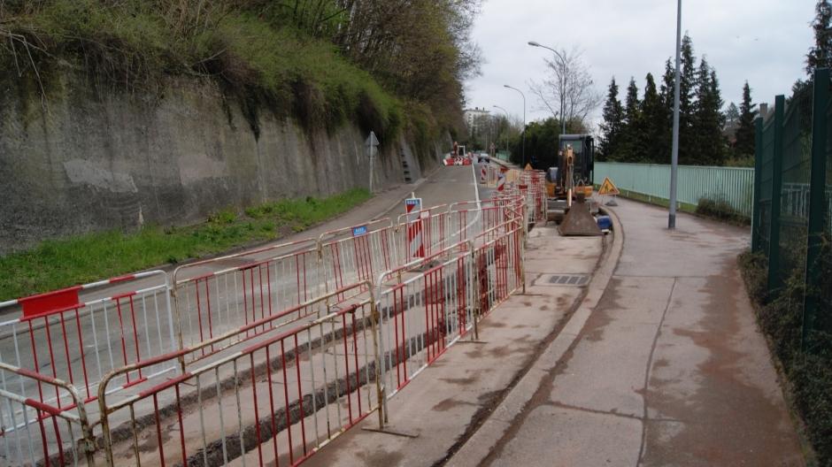Travaux en cours sur la voie Carpentier à Epinal.