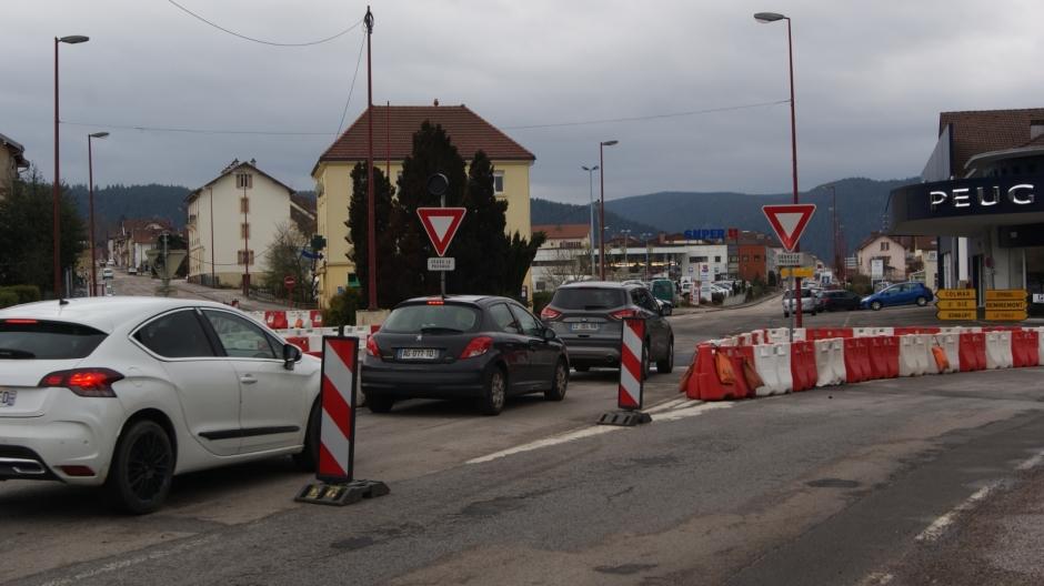 Travaux au carrefour de la Croisette à Gérardmer.