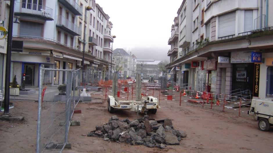 Travaux de requalification de la rue du Boudiou à Epinal.