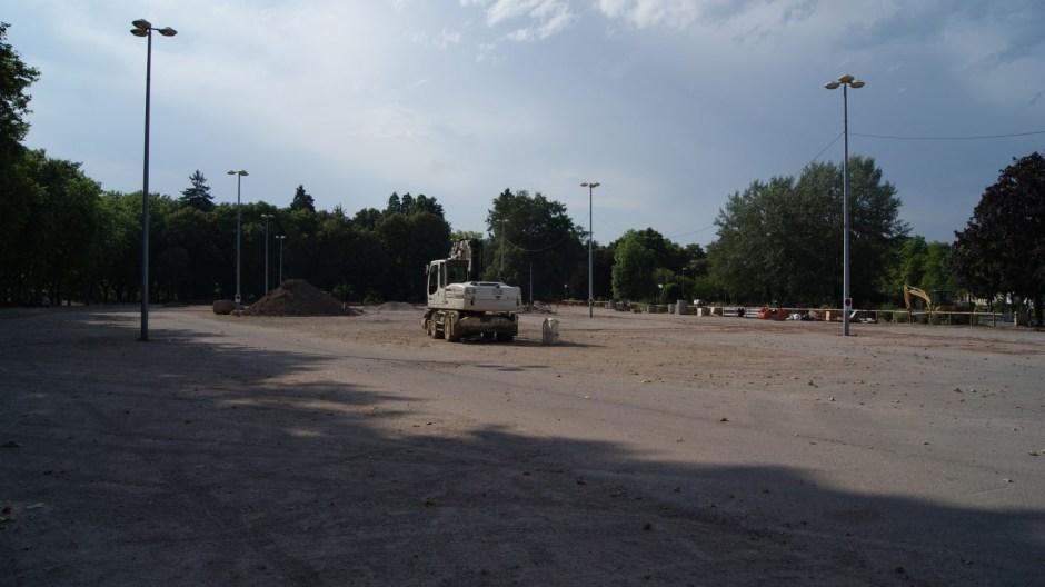 Travaux électriques au Champs de Mars à Epinal.