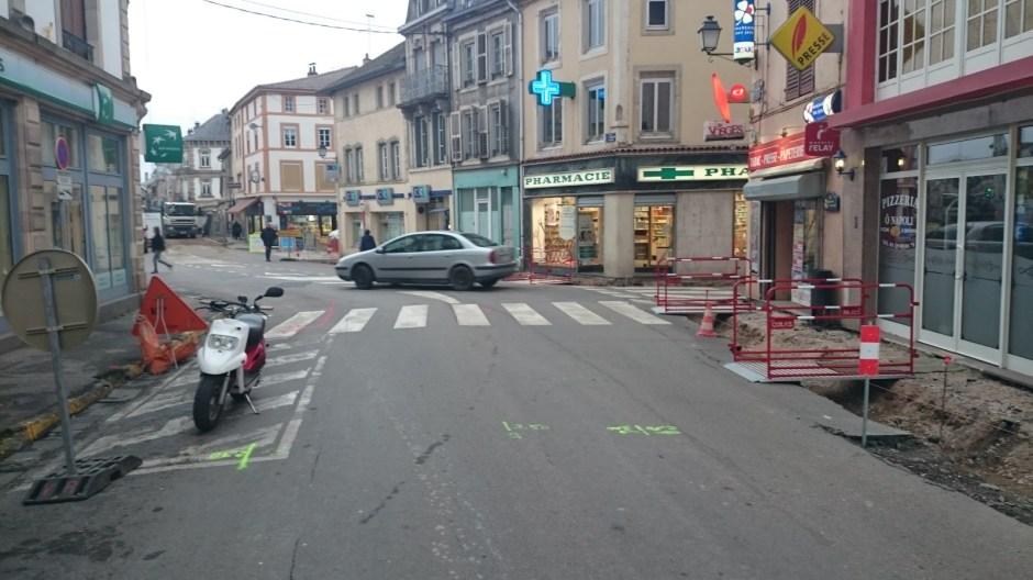 Travaux dans le centre ville de Rambervillers.