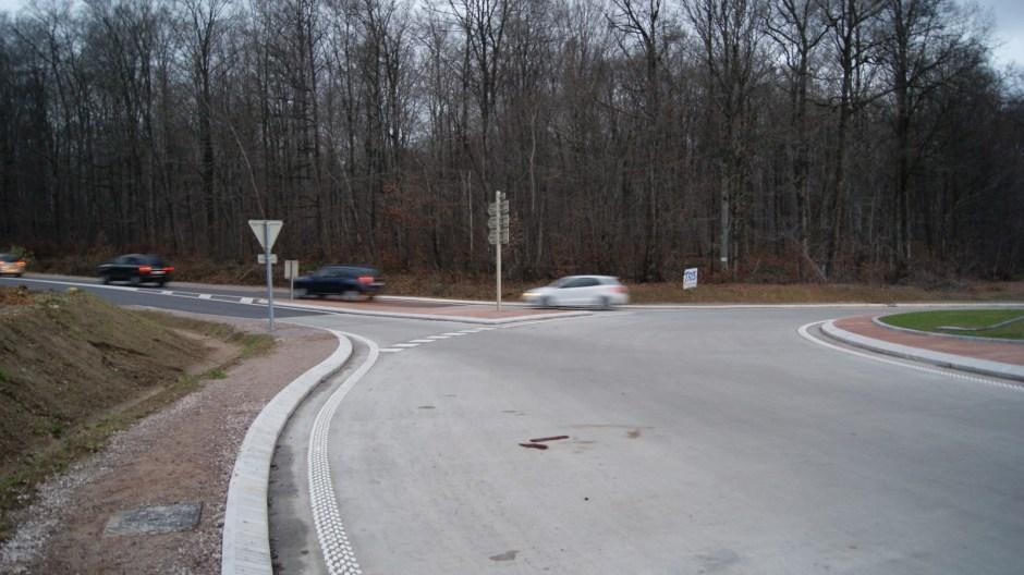 La fin des travaux de construcion du nouveau giratoire sur la RD166A à Golbey