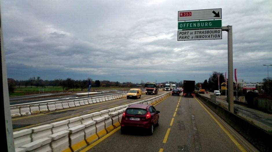 Travaux en cours sur la RN83 à l'entrée de Strasbourg.