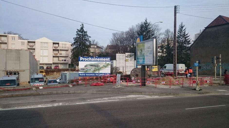 Construction d'un nouveau supermarché LIDL à Besançon.