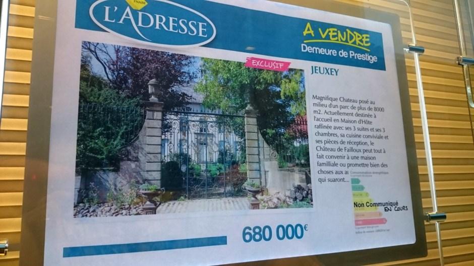 Le château de Failloux en vente.