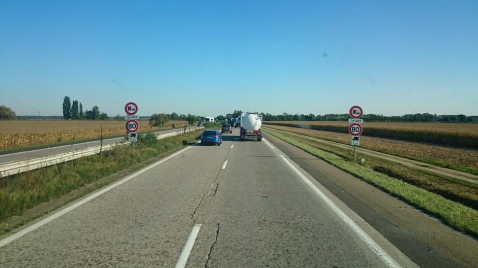 Interdiction de dépasser pour les PL sur l'autoroute A35 en Alsace.